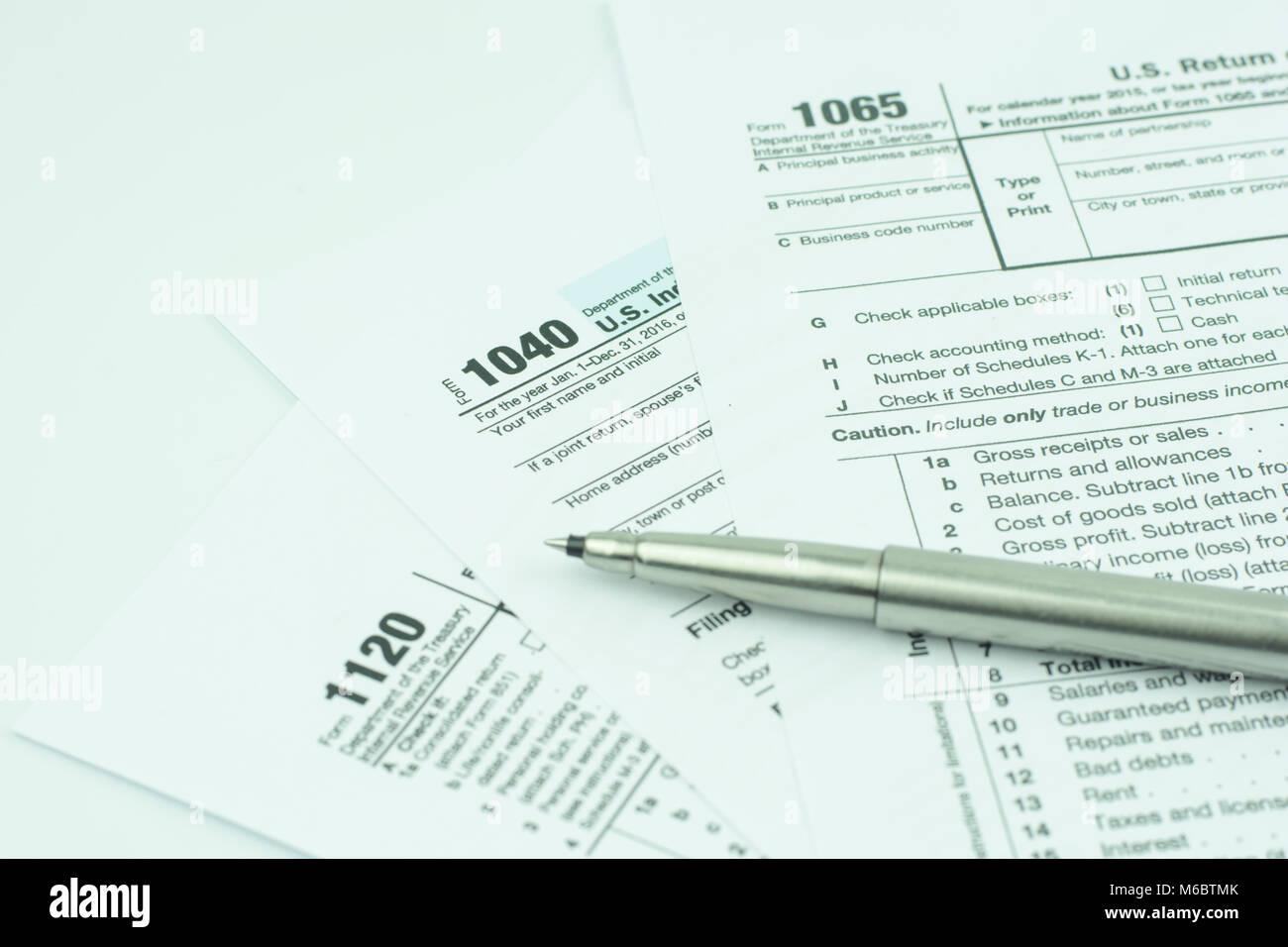 1040,1120,1065 US tax form / taxation concept  USA Stock Photo