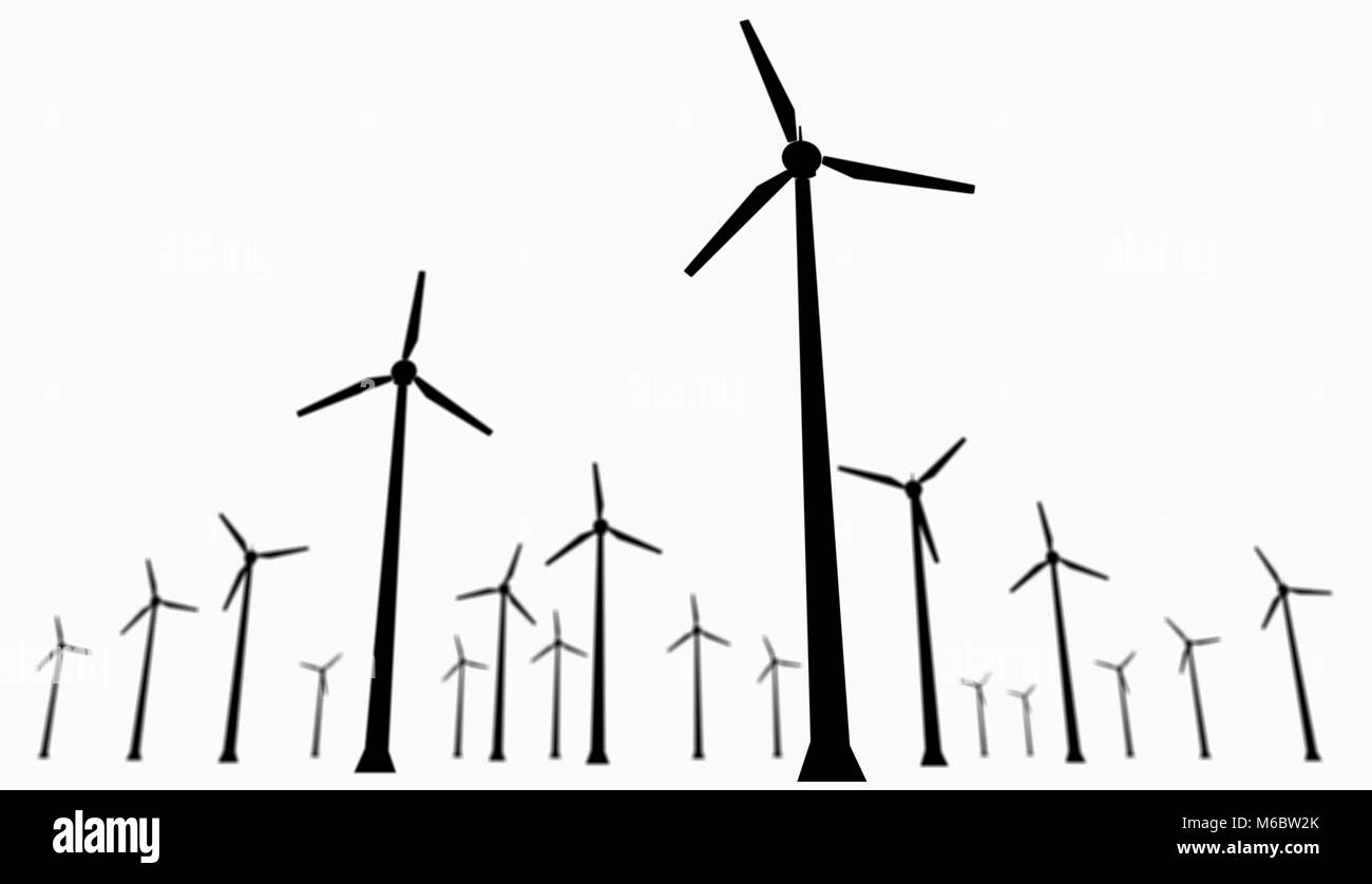 Isolated Wind Turbines Silhouette Energy Windmills Farm On White Power Turbine Diagram Background