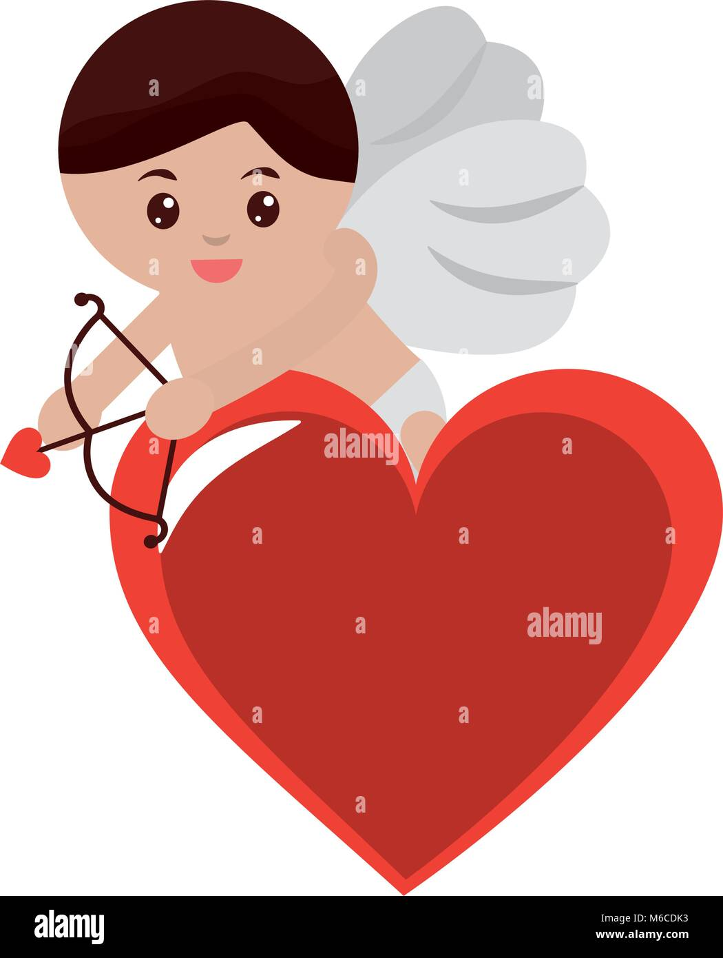 Cupid Holding Bow And Arrow On Heart Valentines Day Icon Image Stock