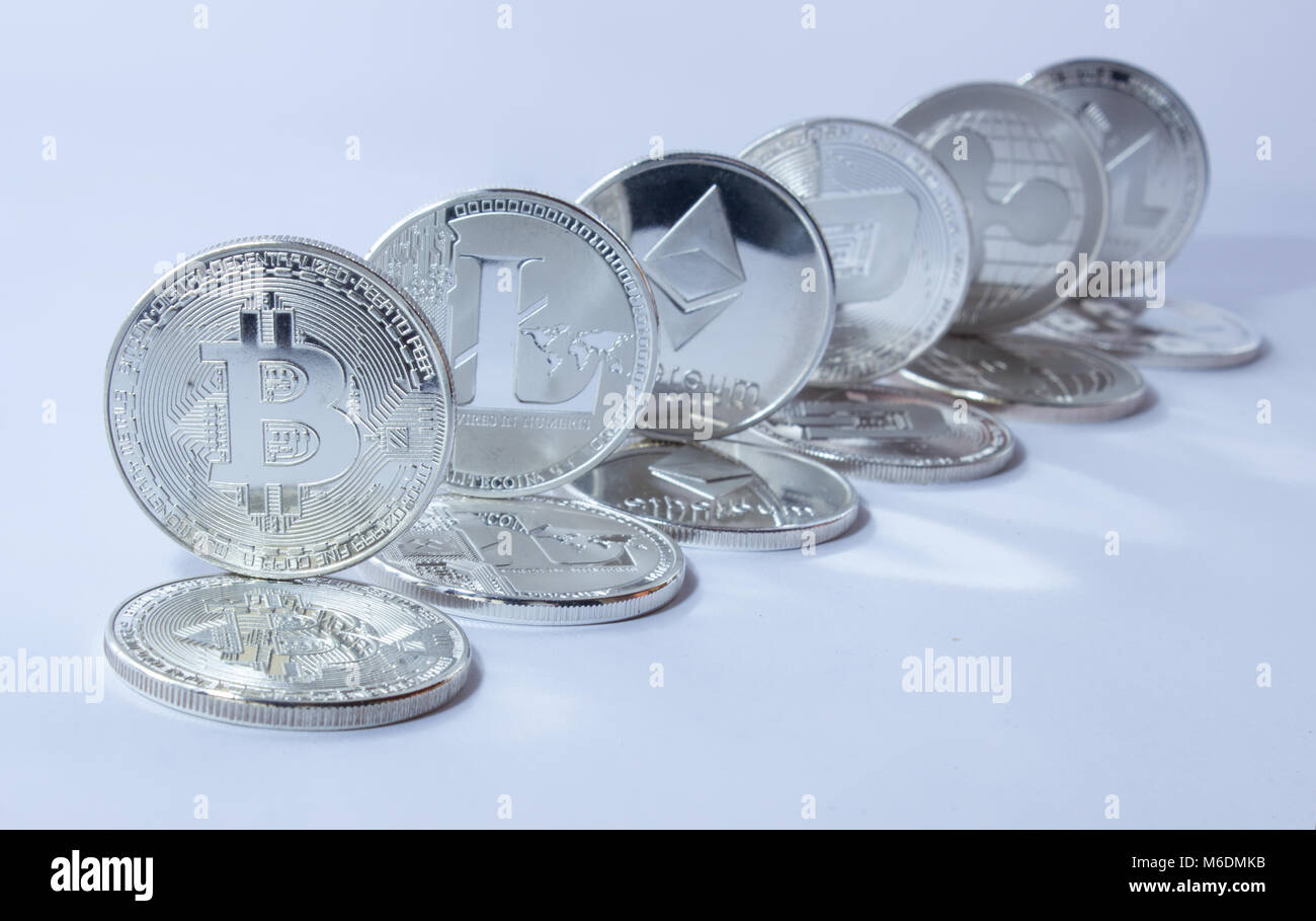 Silver coins of a digital crypto currency - litecoin bitcoin