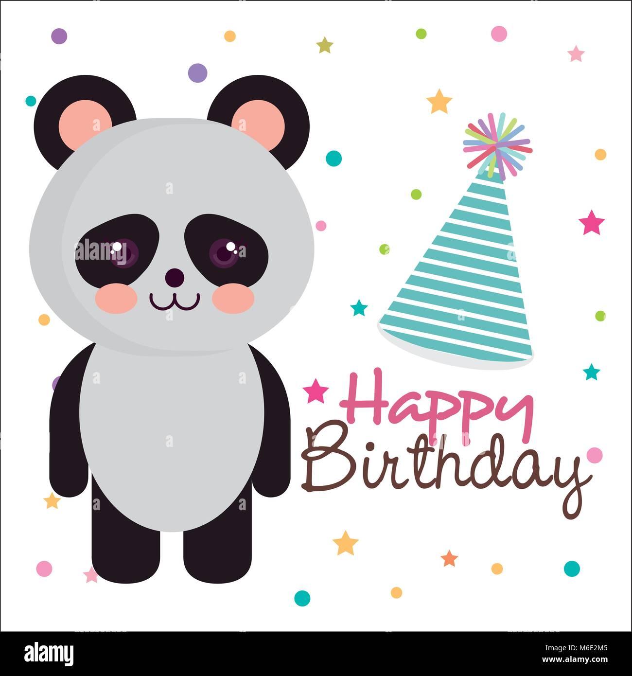 Happy birthday card with bear panda stock vector art illustration happy birthday card with bear panda bookmarktalkfo Choice Image