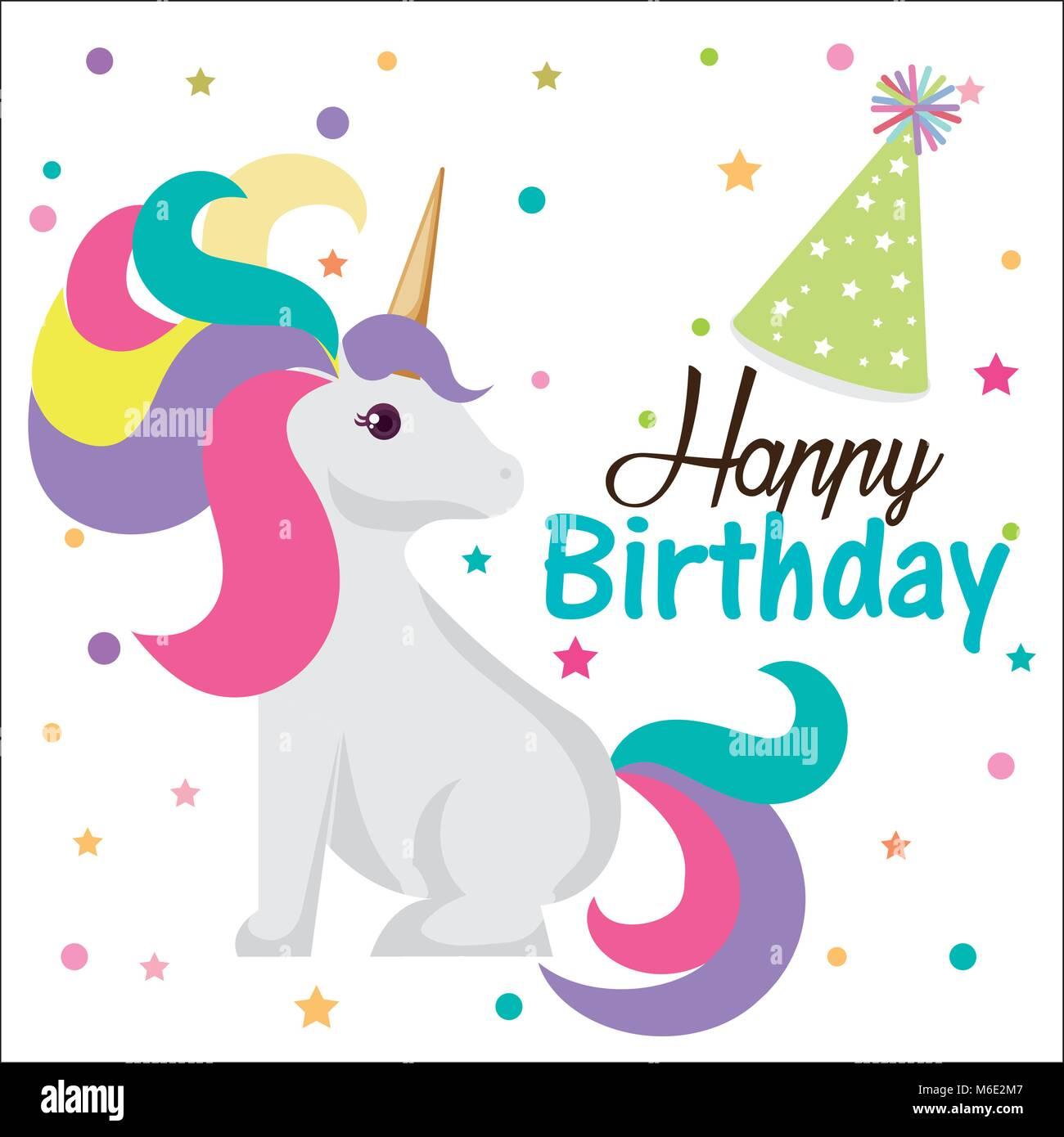 Happy Birthday Card With Unicorn Character Stock Vector Art