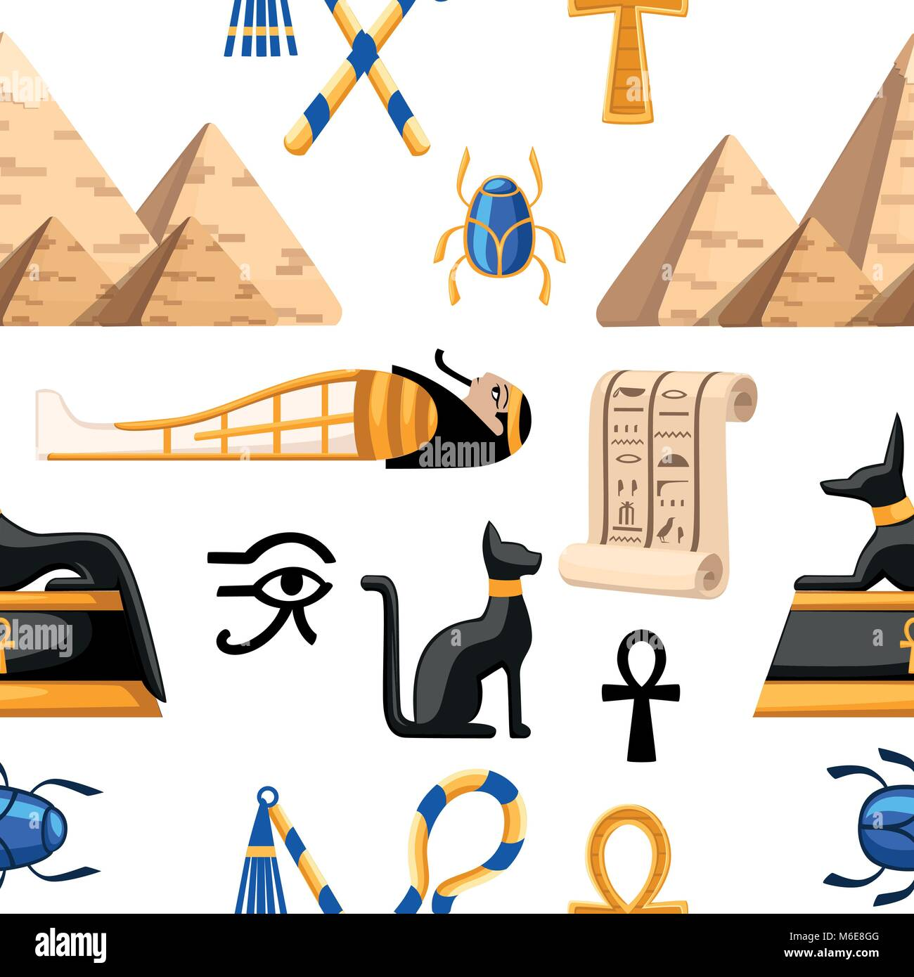 Ancient egyptian clothes stock photos ancient egyptian clothes seamless pattern of ancient egyptian symbols and decoration egypt flat icons vector illustration on white biocorpaavc