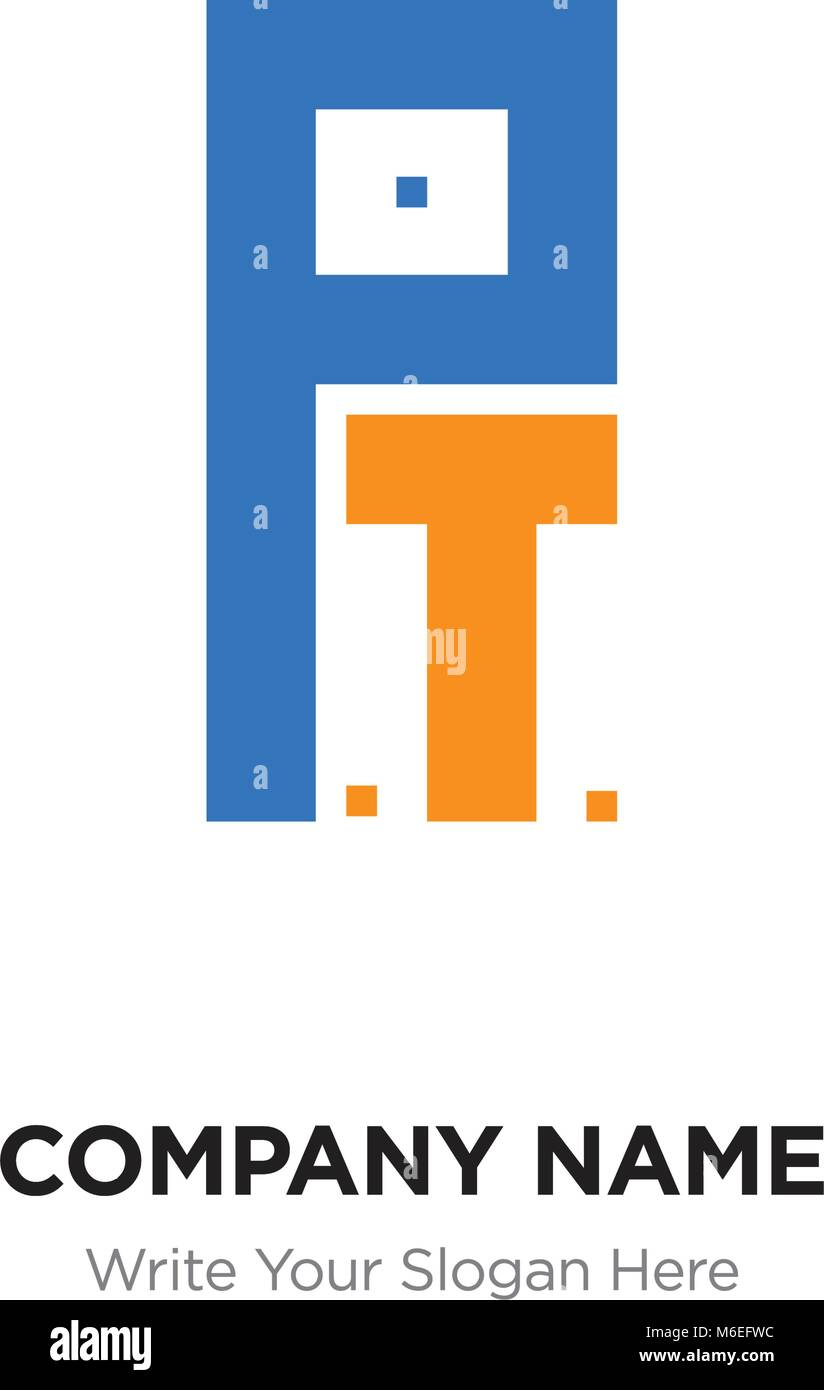 abstract letter pt or tp logo design template black alphabet