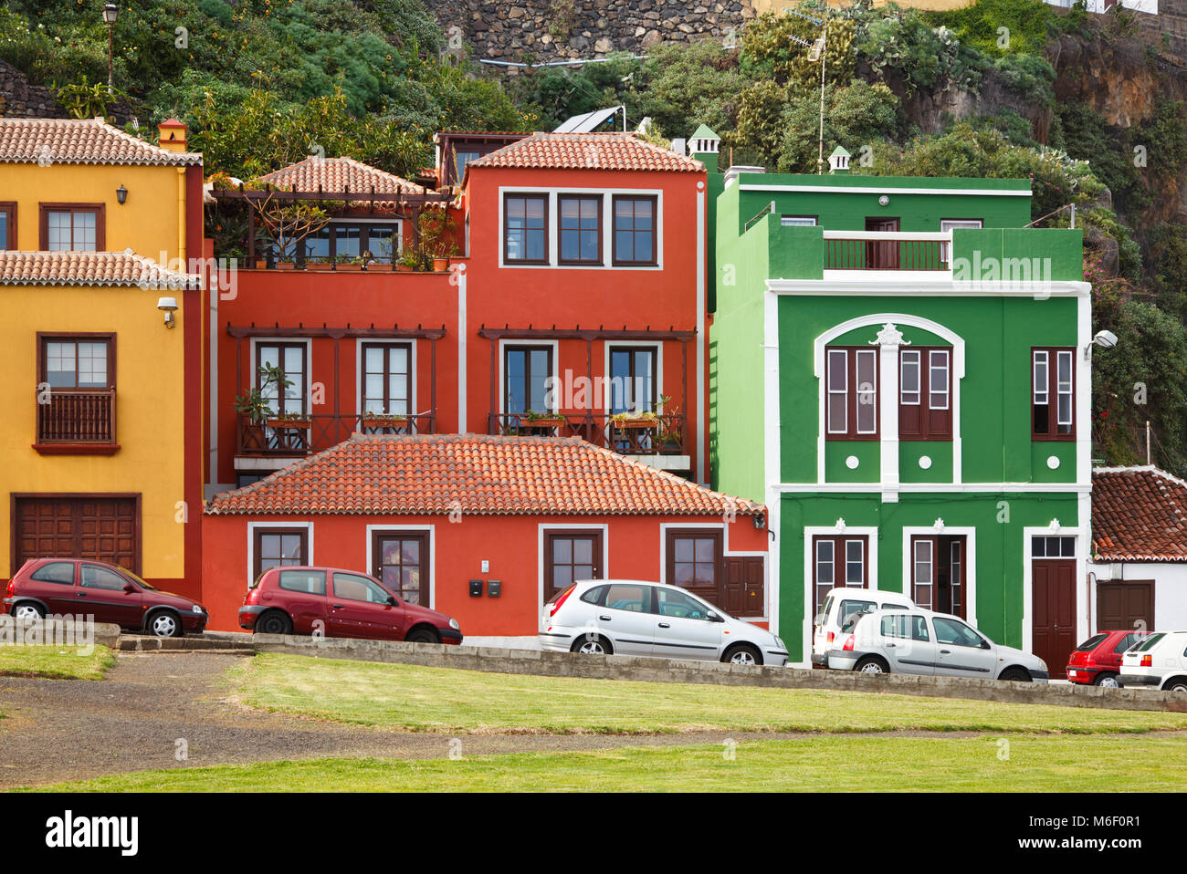 some of the many colorful houses in santa cruz de la palma