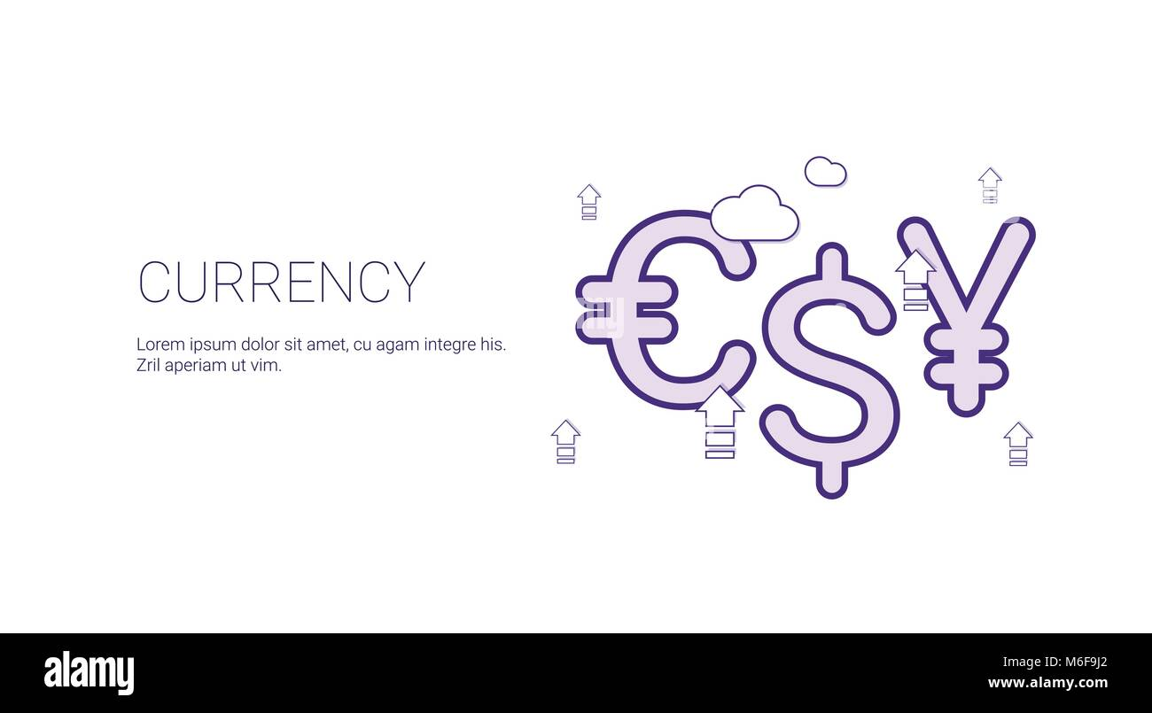 currency finance and money concept template web banner with copy
