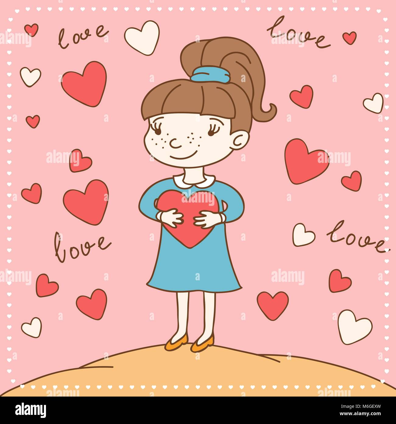Vintage Valentine S Day Card Of Girl With Heart Stock Vector Art