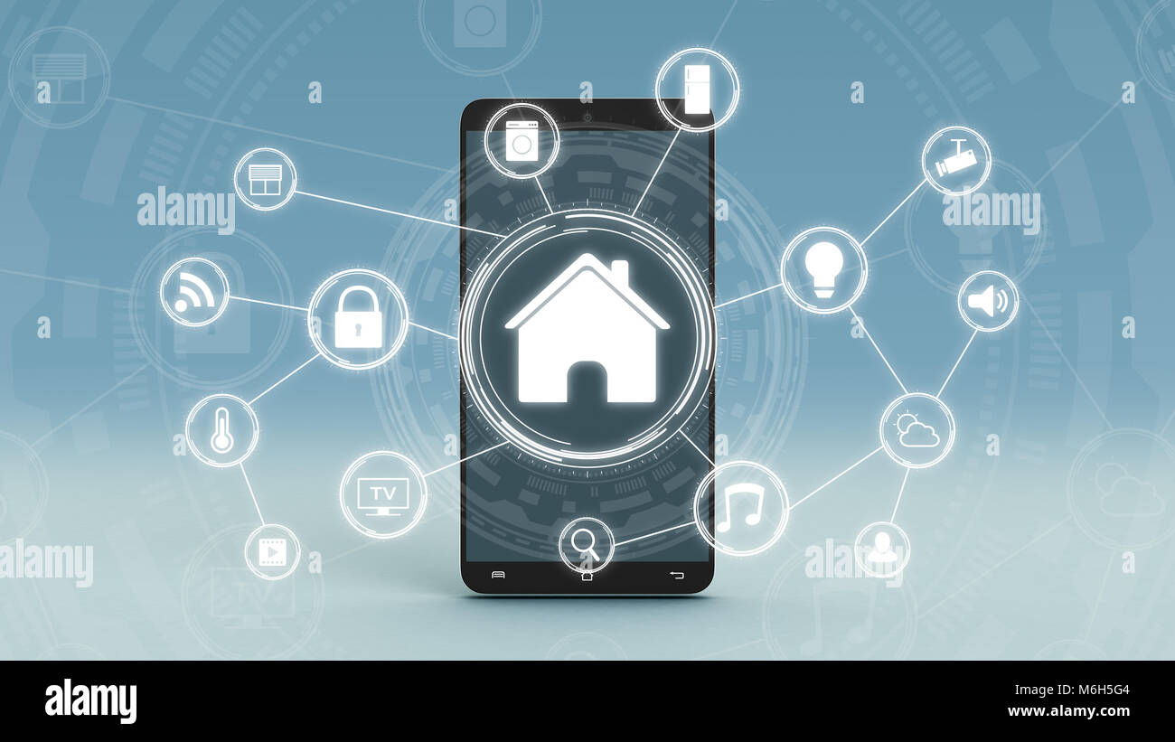 futuristic smart home interface with a network of icons, a ...