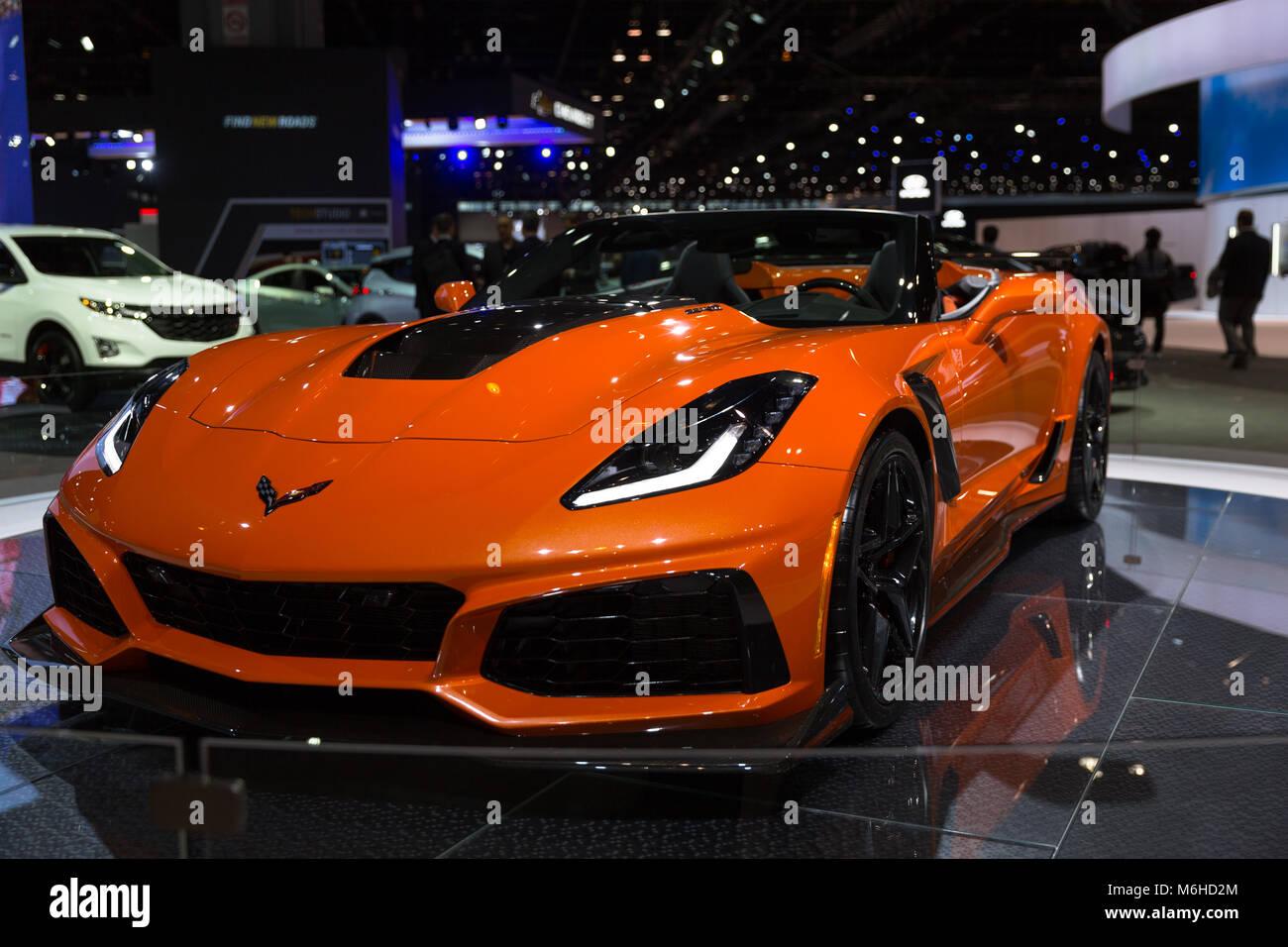 2019 Chevrolet Corvette Zr11 At The 2018 Chicago Auto Show Stock