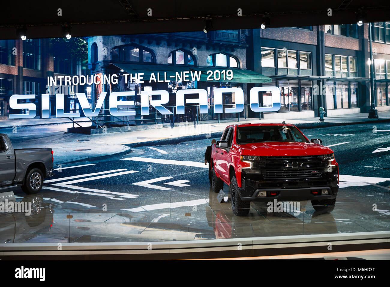 New 2019 Chevrolet Silverado 2018 Chicago Auto Show Stock Photo