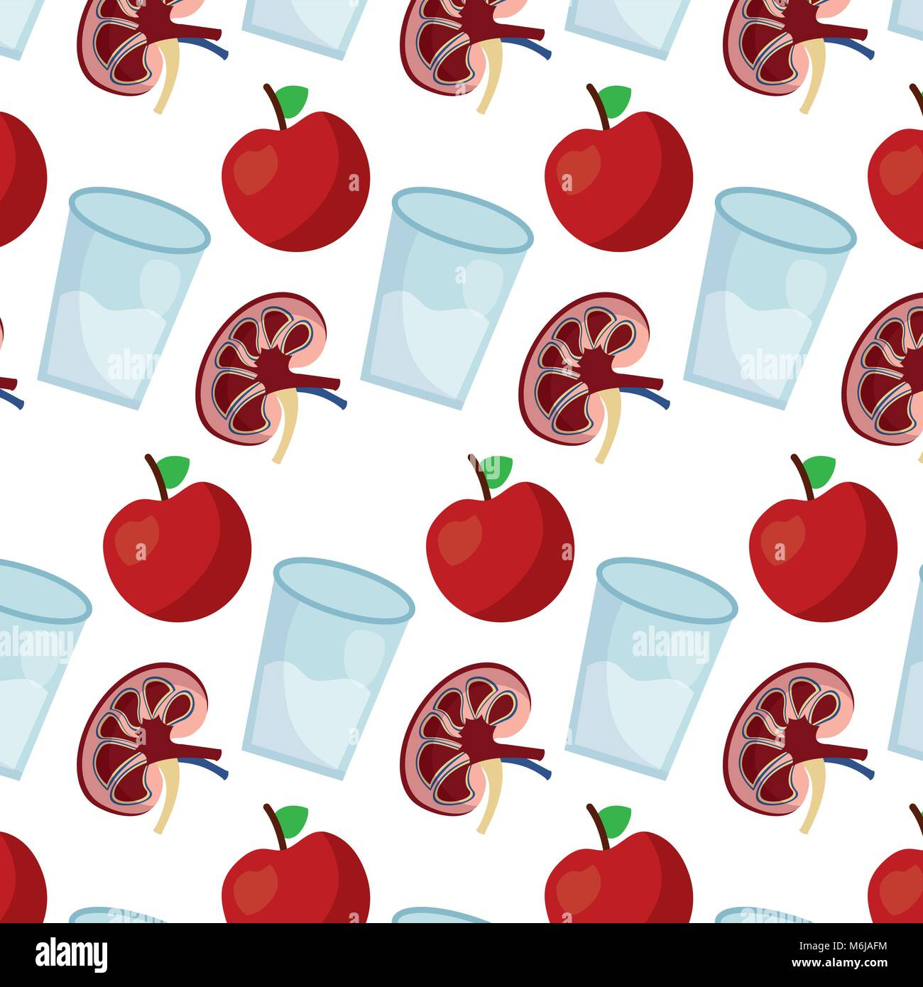 human kidney with water glass and apple fruit wallpaper decoration