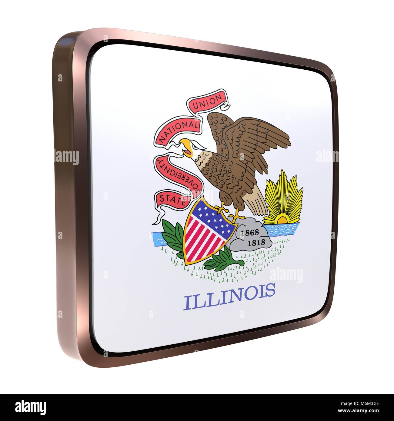 3d rendering of an Illinois State flag icon with a bright frame ...