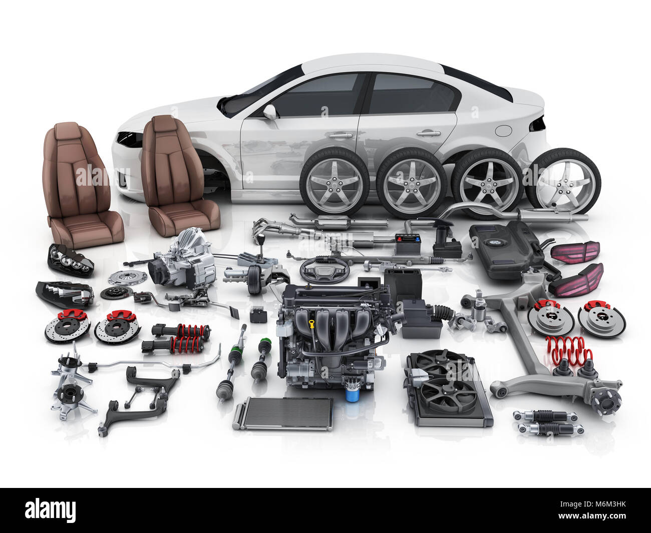 Car body disassembled and many vehicles parts. 3d illustration Stock ...