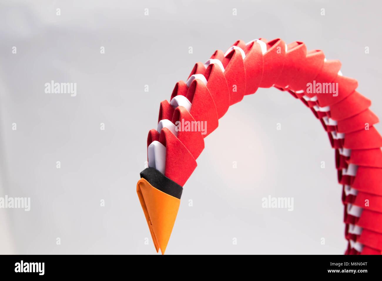 3d Origami Swan Bird Red Stock Photo 176252744 Alamy