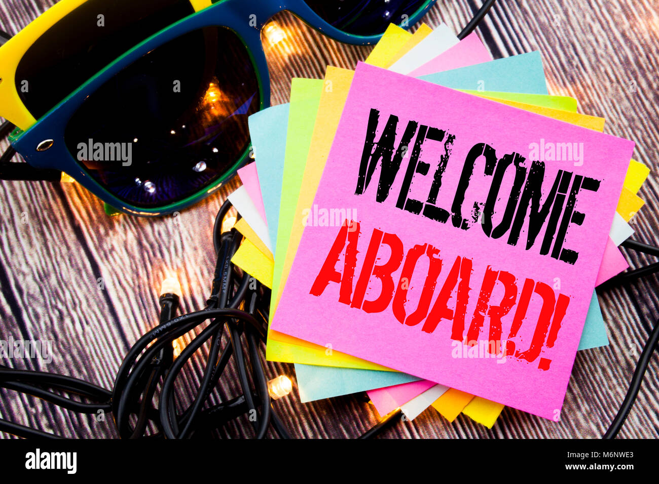 Word Writing Welcome Aboard Business Concept For Greeting Join