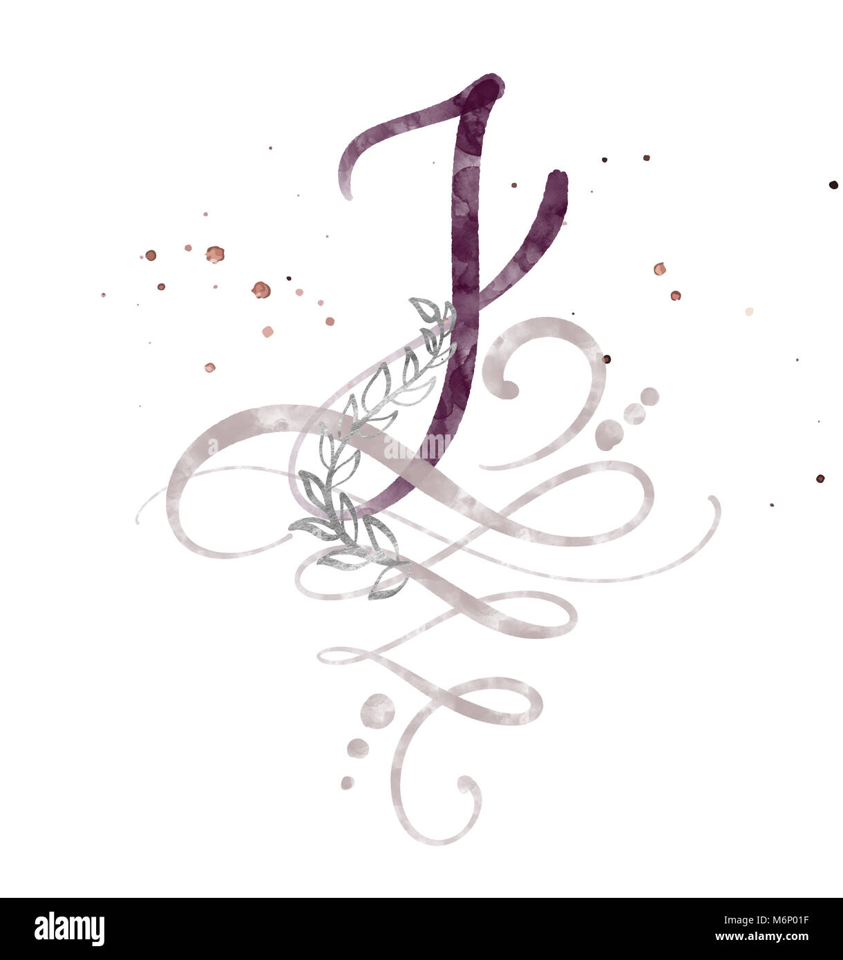 Hand Drawn Calligraphy Letter J Watercolor Script Font Isolated