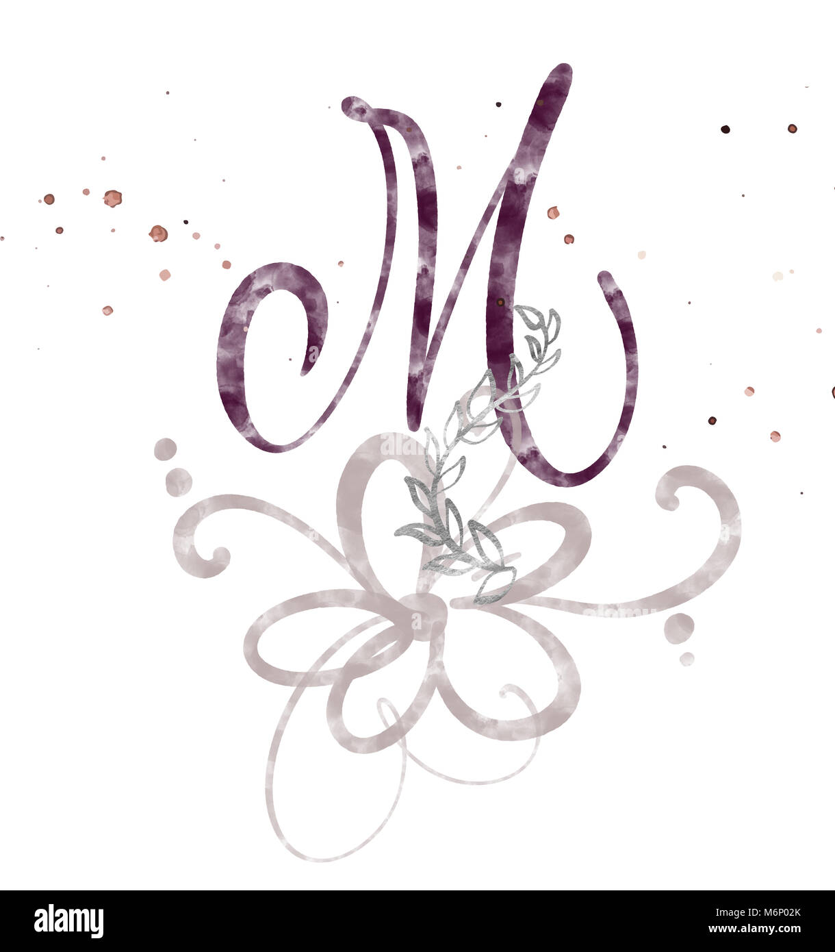 Hand Drawn Calligraphy Letter M Watercolor Script Font Isolated