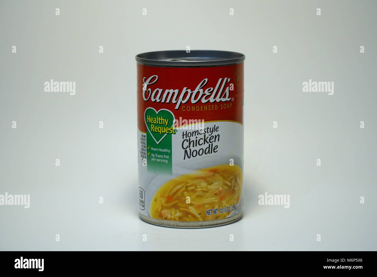 campbells chicken noodle soup can. isolated product vertical frame