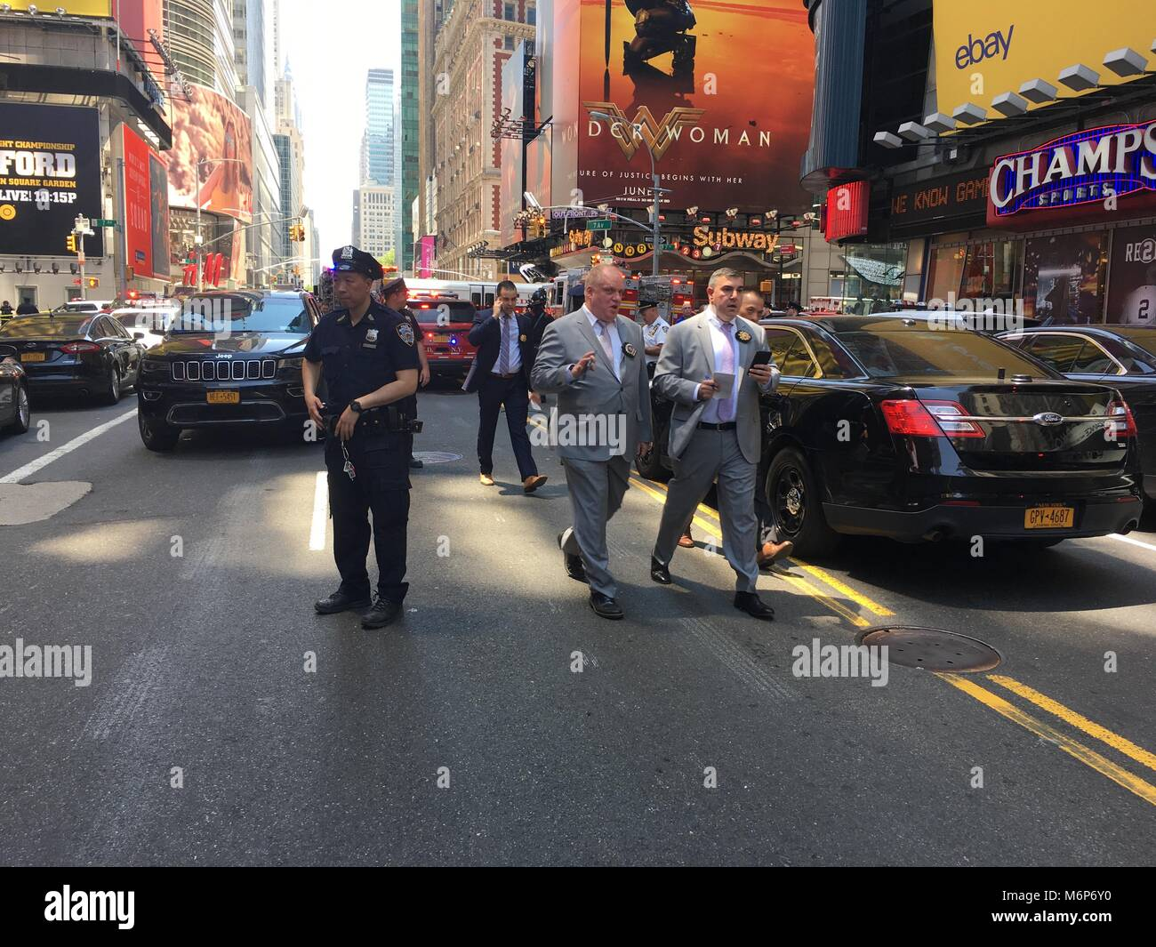 new york city - may 2017: times square car accident kills and