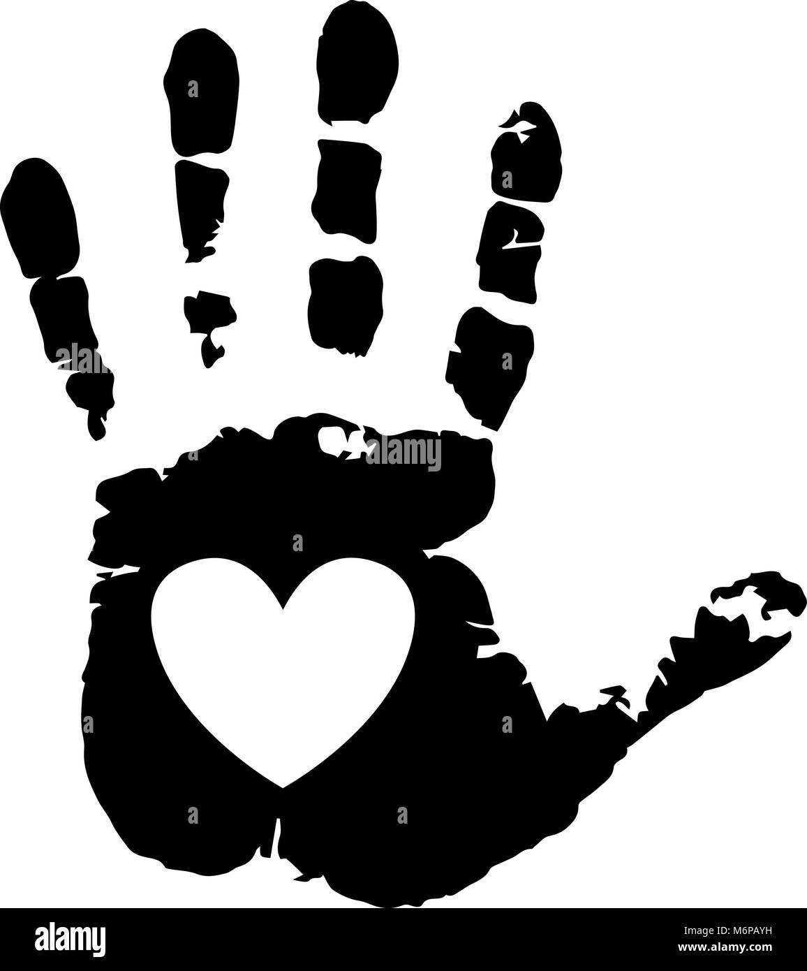 Black silhouette of human hand print with heart symbol in open black silhouette of human hand print with heart symbol in open palm isolated on white background vector monochrome illustration icon logo clip art buycottarizona Gallery