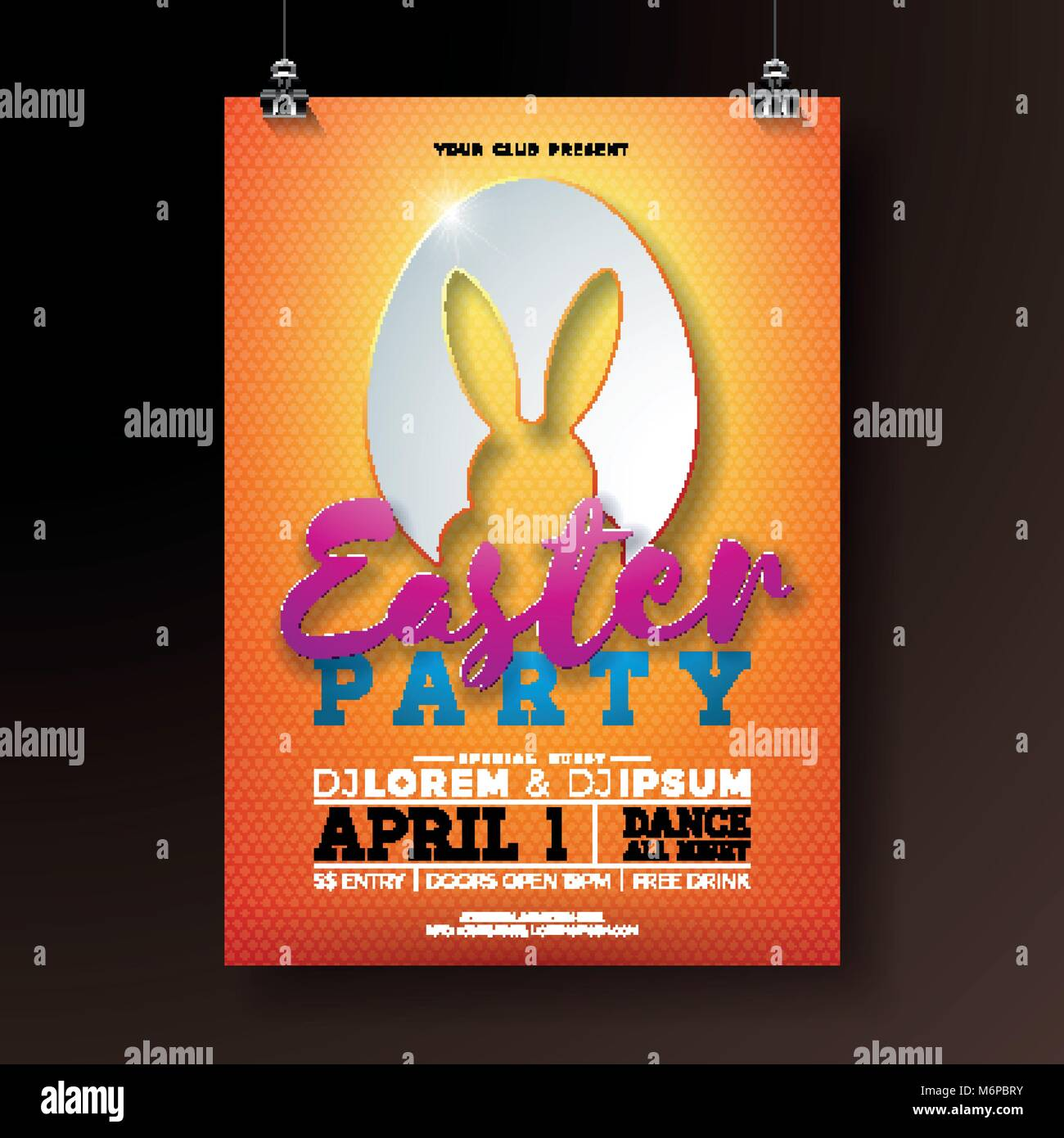 vector easter party flyer illustration with rabbit ears in cutting
