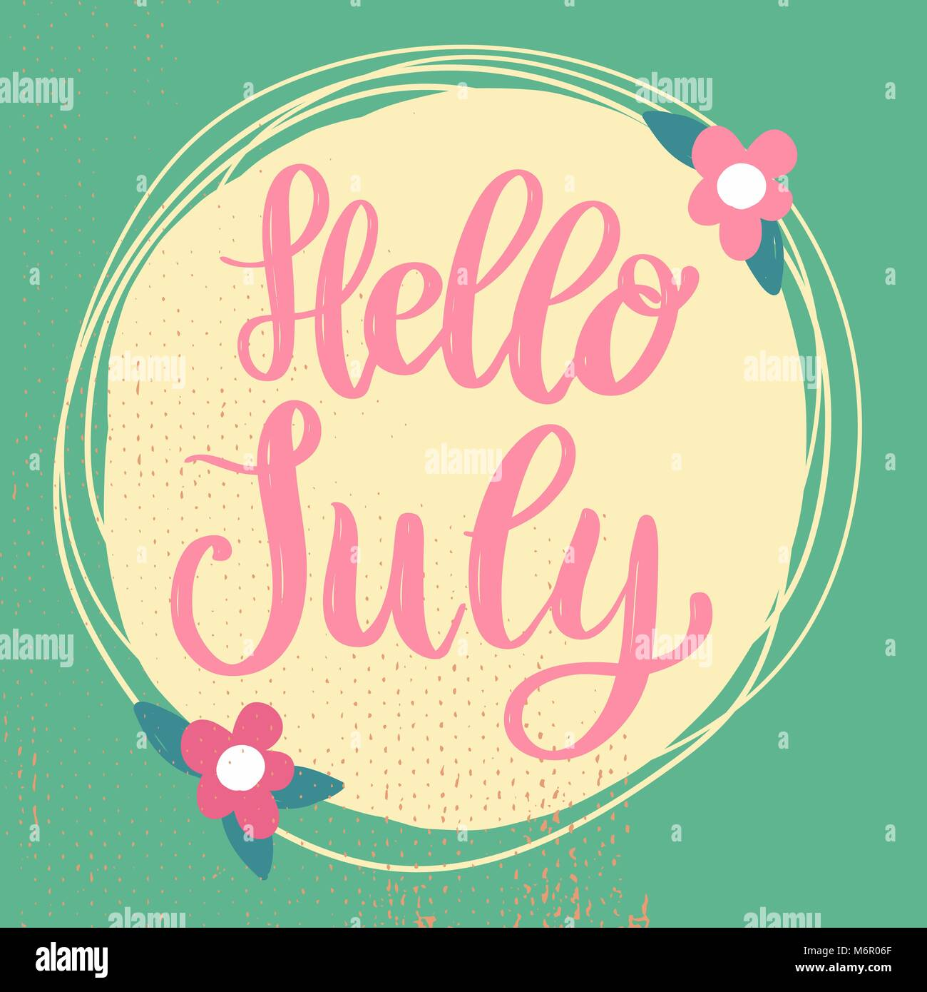 Hello July. Lettering Phrase On Background With Flowers Decoration. Design  Element For Poster, Banner, Card. Vector Illustration