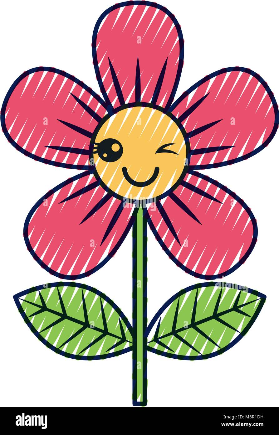 Beautiful Flower Wink Kawaii Cartoon Vector Illustration Stock