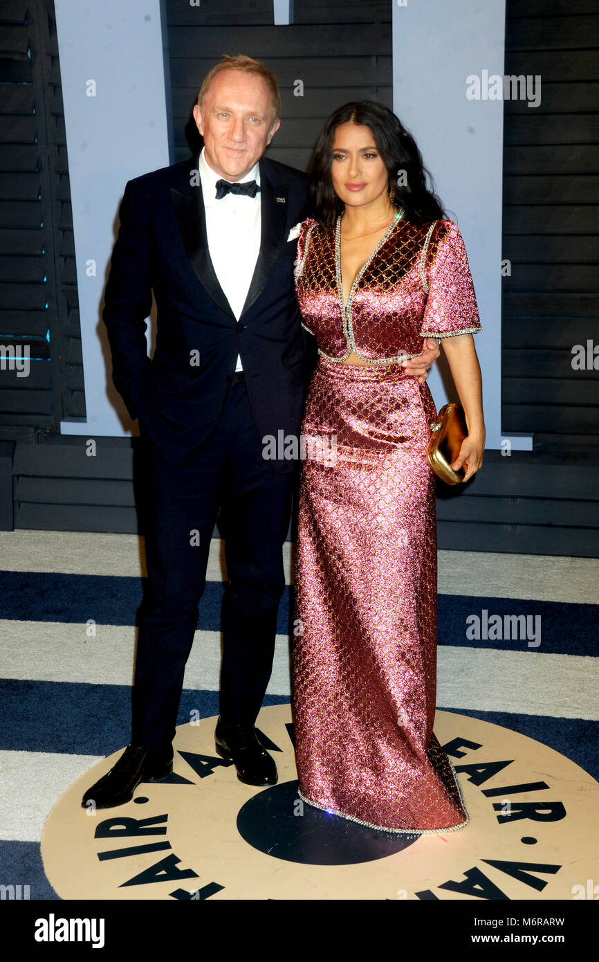 Delightful Francois Henri Pinault And Salma Hayek Attending The 2018 Vanity Fair Oscar  Party Hosted By Radhika Jones At Wallis Annenberg Center For The Performing  Arts ...