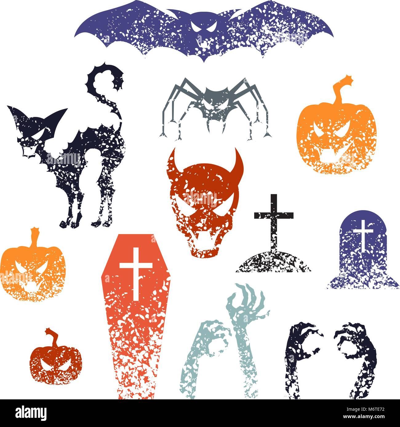 Happy Halloween Symbols With Grunge Texture Stock Vector Art