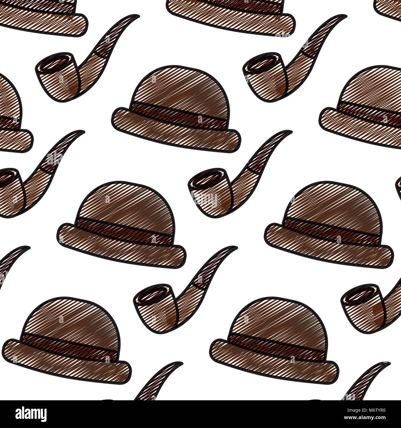 Classic Hat And Tobacco Pipe Hipster Style Wallpaper Vector Stock