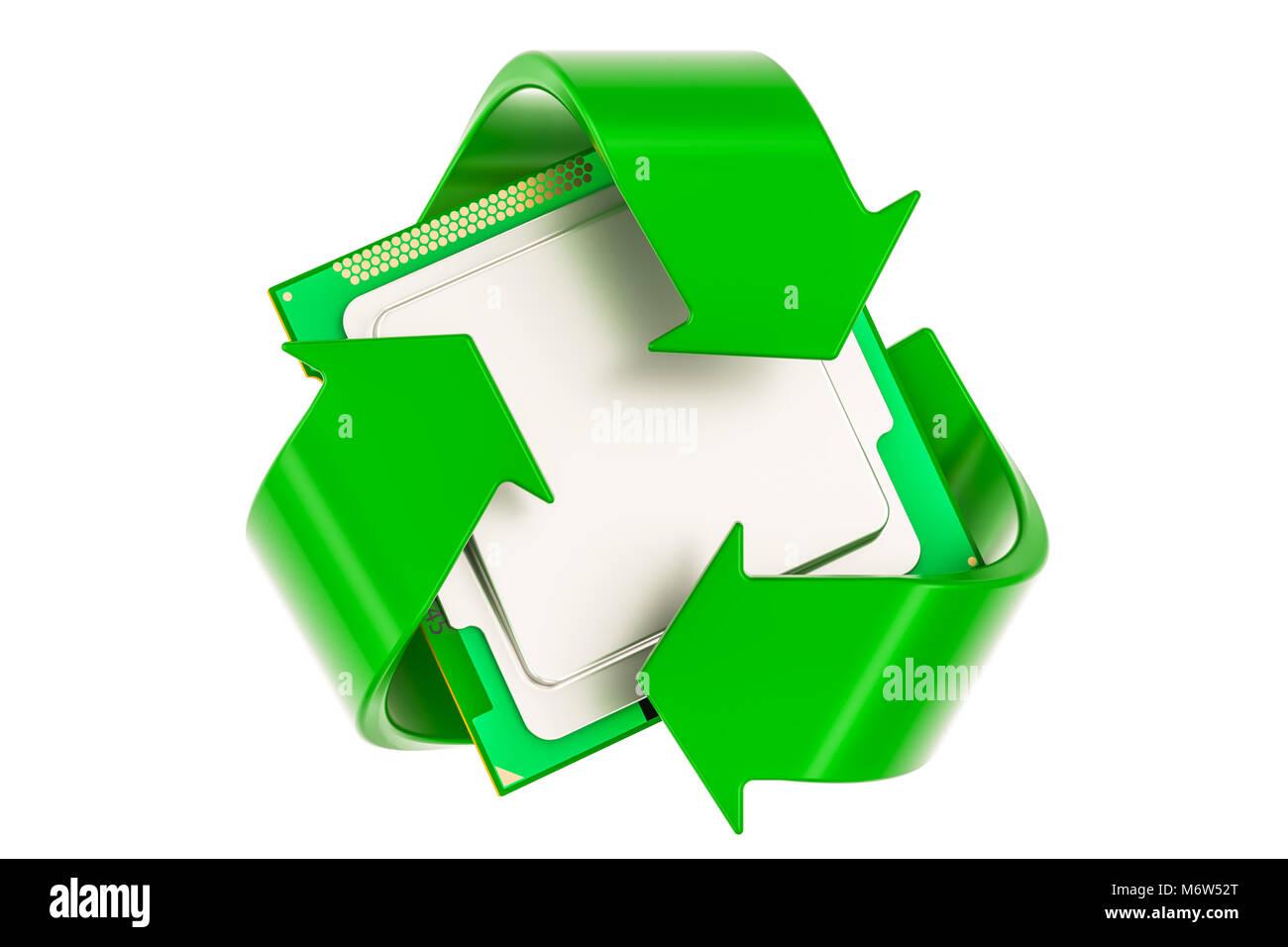 3d golden recycle symbol stock photos 3d golden recycle symbol green recycle symbol with cpu computer processor unit 3d rendering stock image buycottarizona Choice Image
