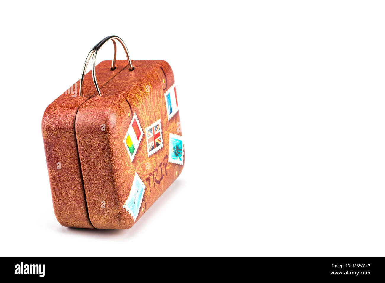 old suitcase travel stickers isolated with a clipping path stock