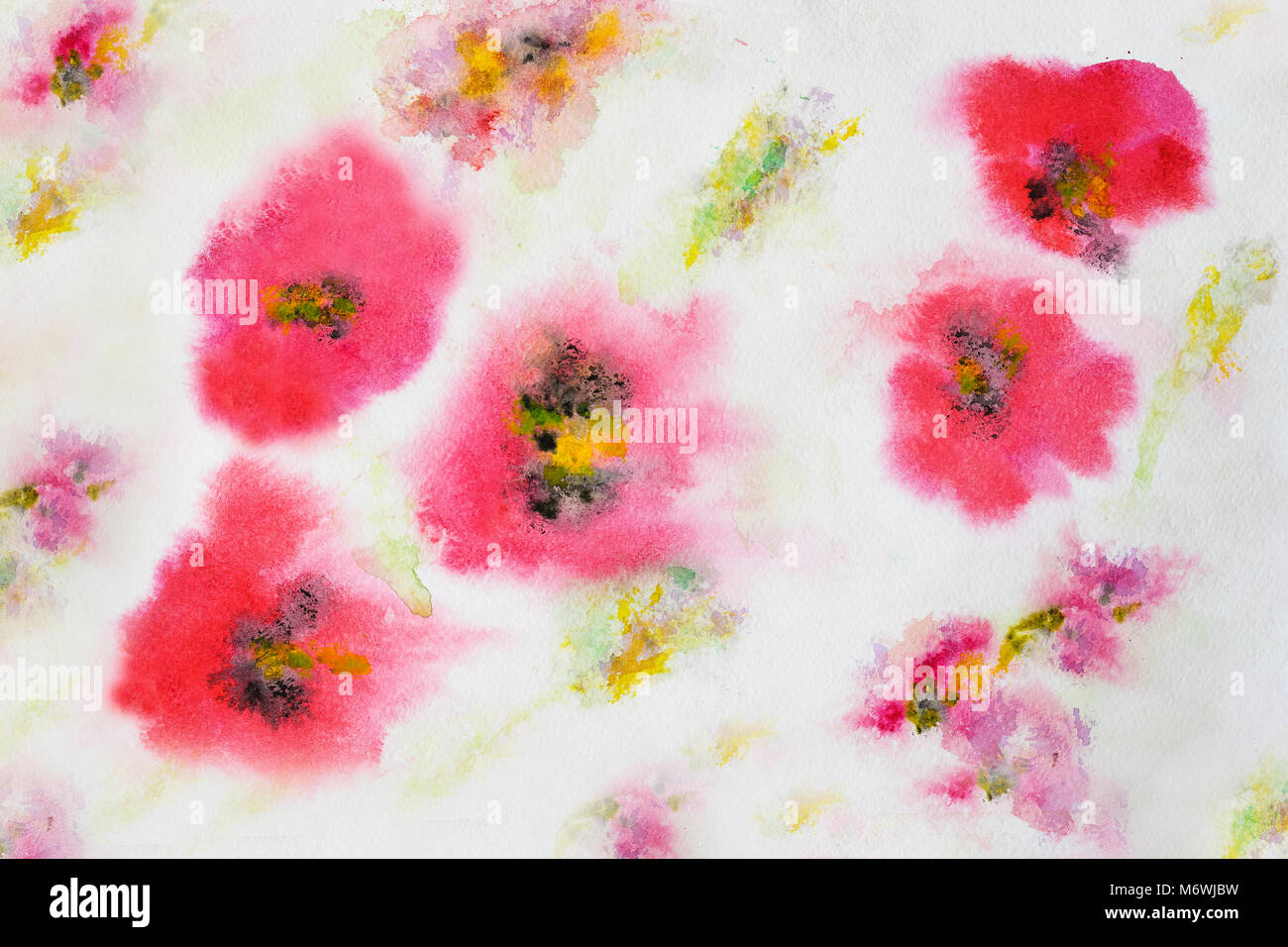 poppy flower pattern hand painted watercolor paper grain texture