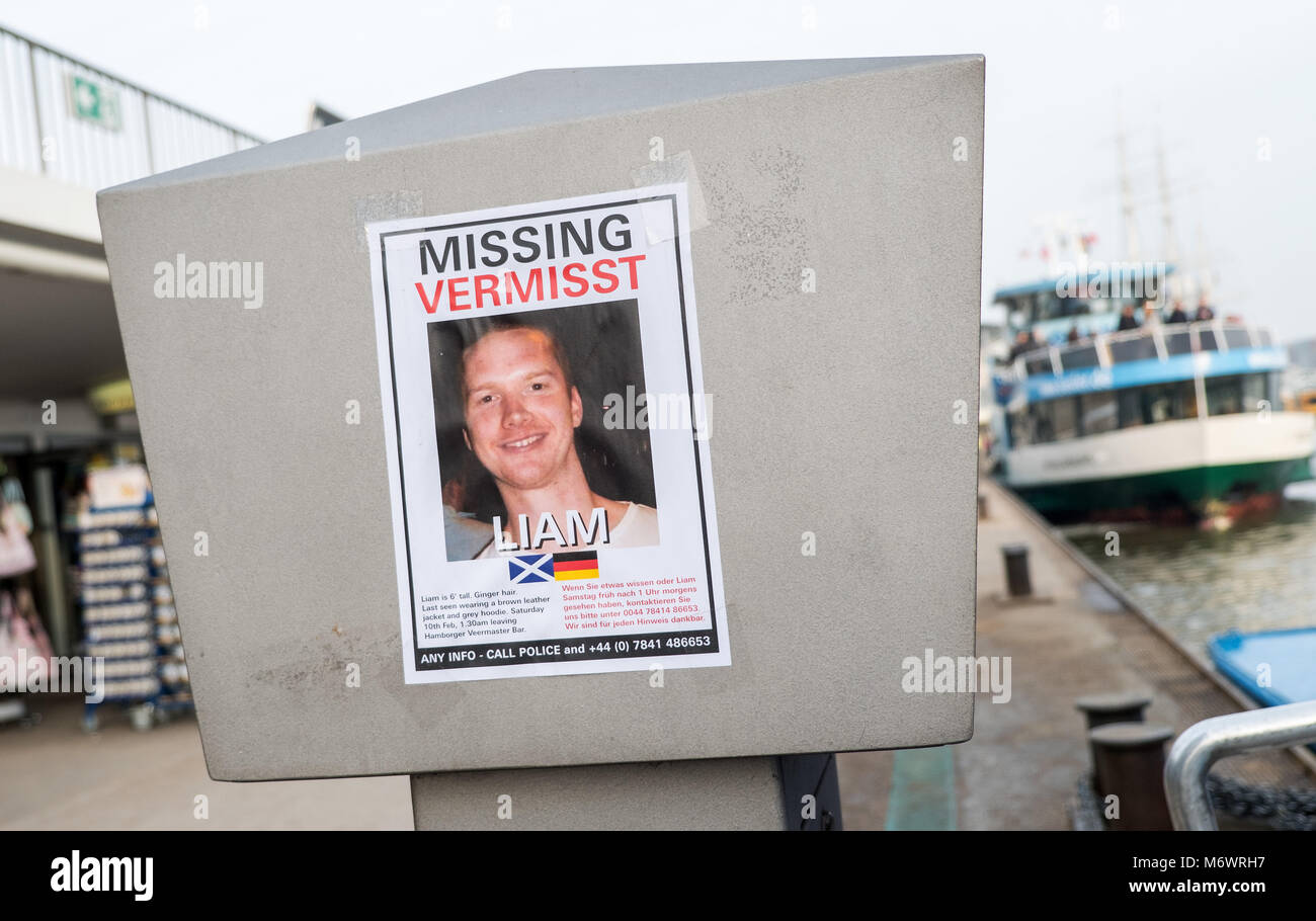 Hamburg, Germany. 06 March 2018, A poster with a call to search for ...