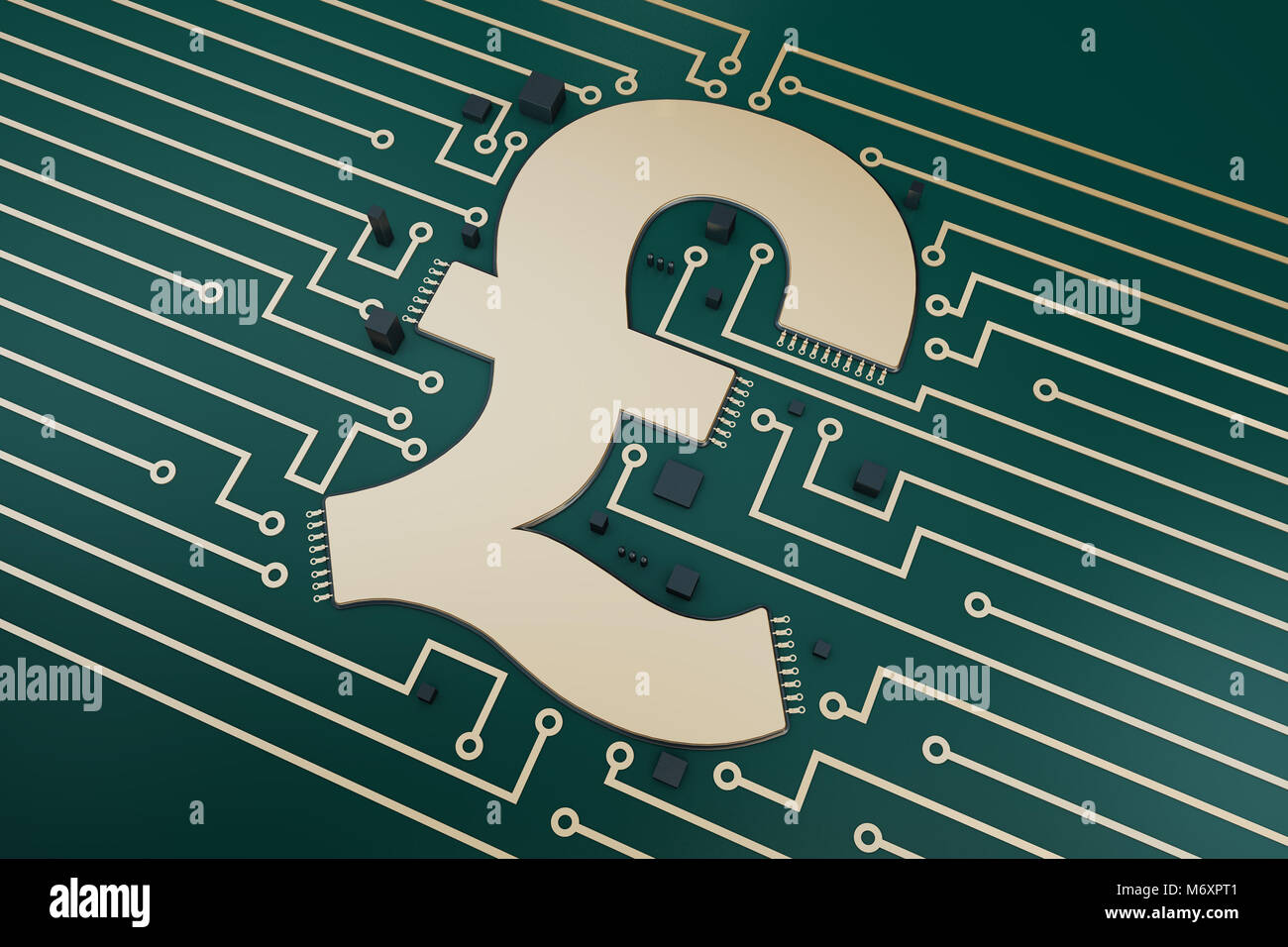 Currency symbols and circuit boards, technology finance Stock Photo ...