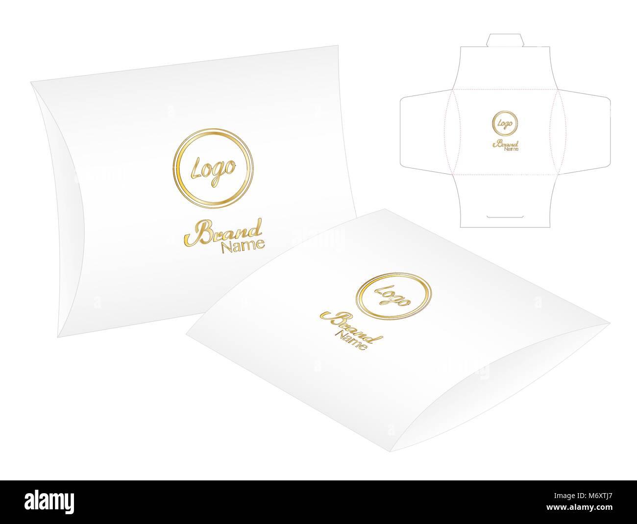 pillow pack box die cut template mockup 3d stock vector art