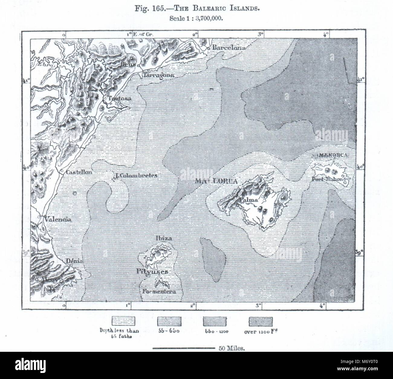 The Balearic Islands Majorca Ibiza Menorca Spain Sketch Map 1885
