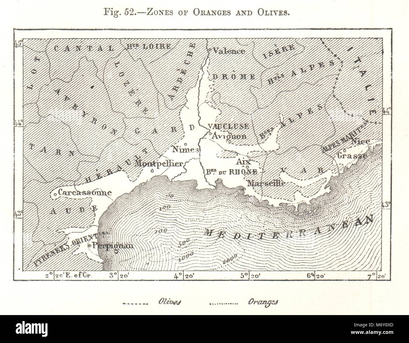 Zones Of Oranges And Olives Southern France Sketch Map 1885 Old