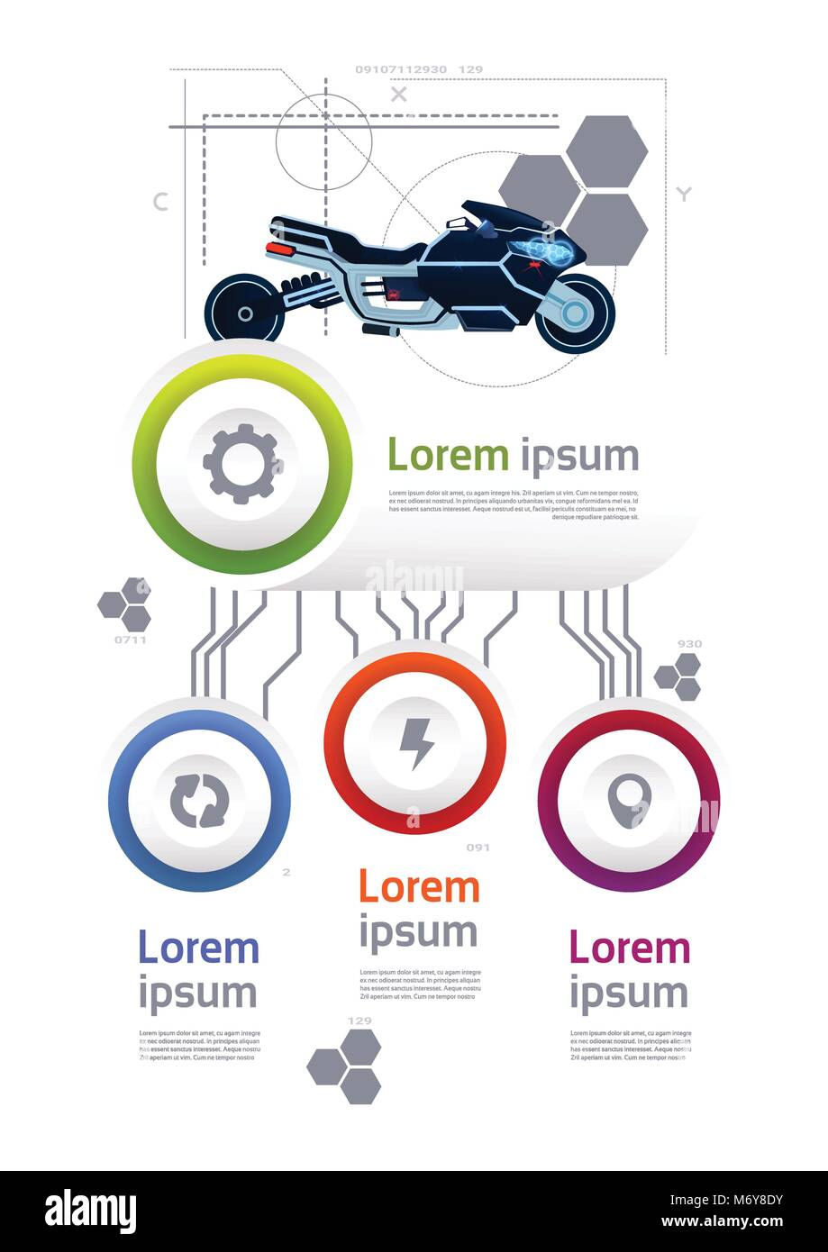 modern motorcycle over template transportation infographics banner