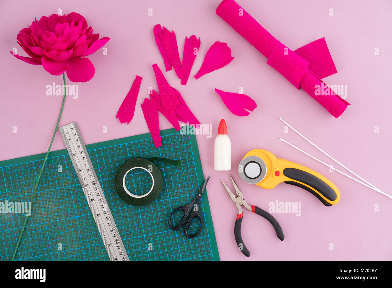 Making Paper Flowers Stock Photo 176408175 Alamy