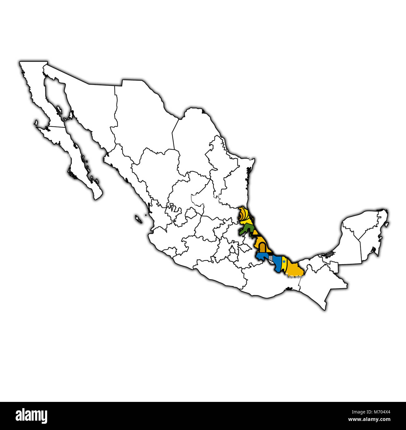 Emblem Of Veracruz State On Map With Administrative Divisions And