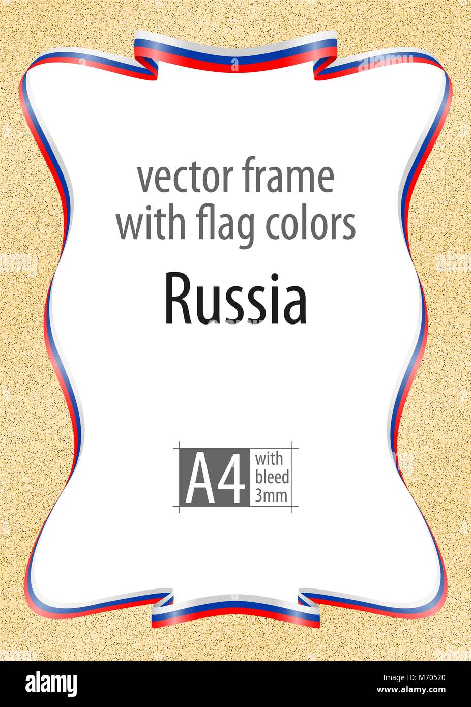 Frame And Border Of Ribbon With The Colors Of The Russia Flag Stock