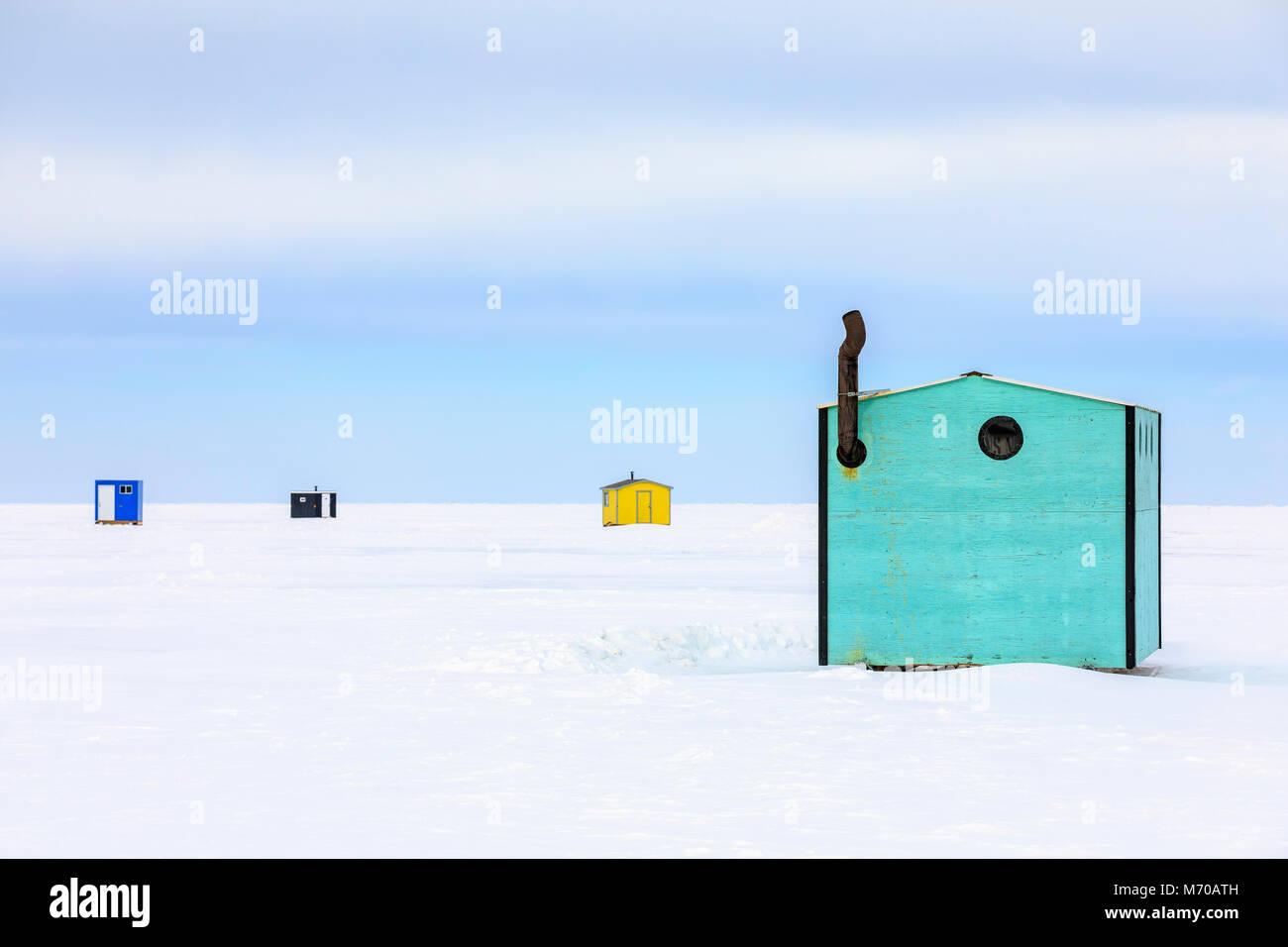 Ice fishing shack stock photos ice fishing shack stock for Lake winnipeg ice fishing