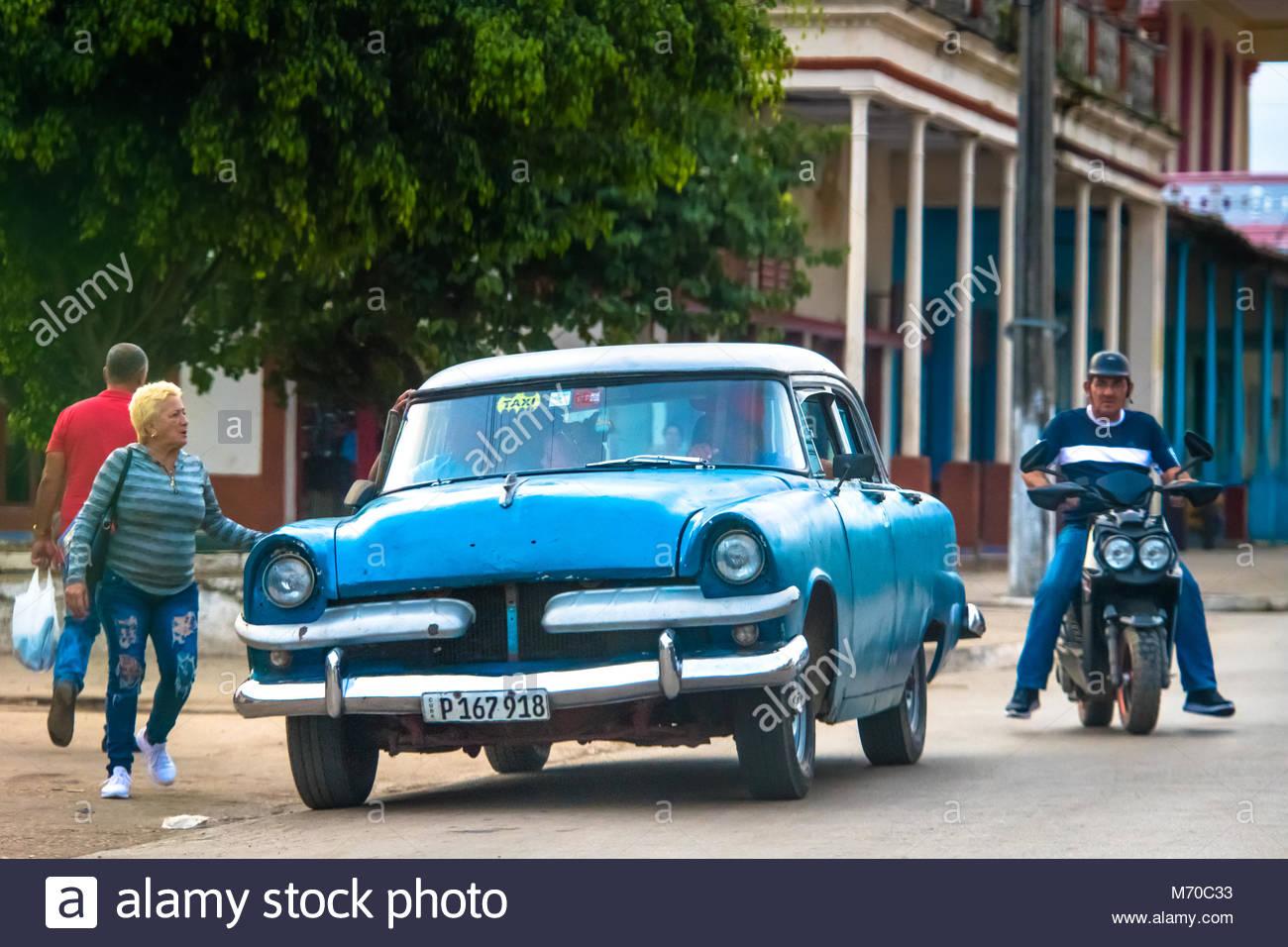 Placetas Cuba January 1 2018 Old Vintage American Cars Still