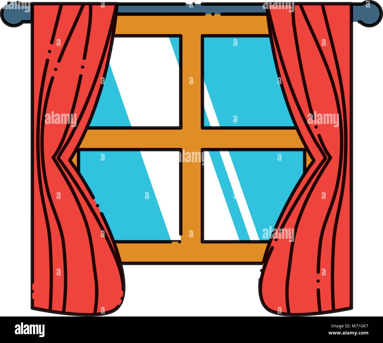 house window with curtains over white background colorful design