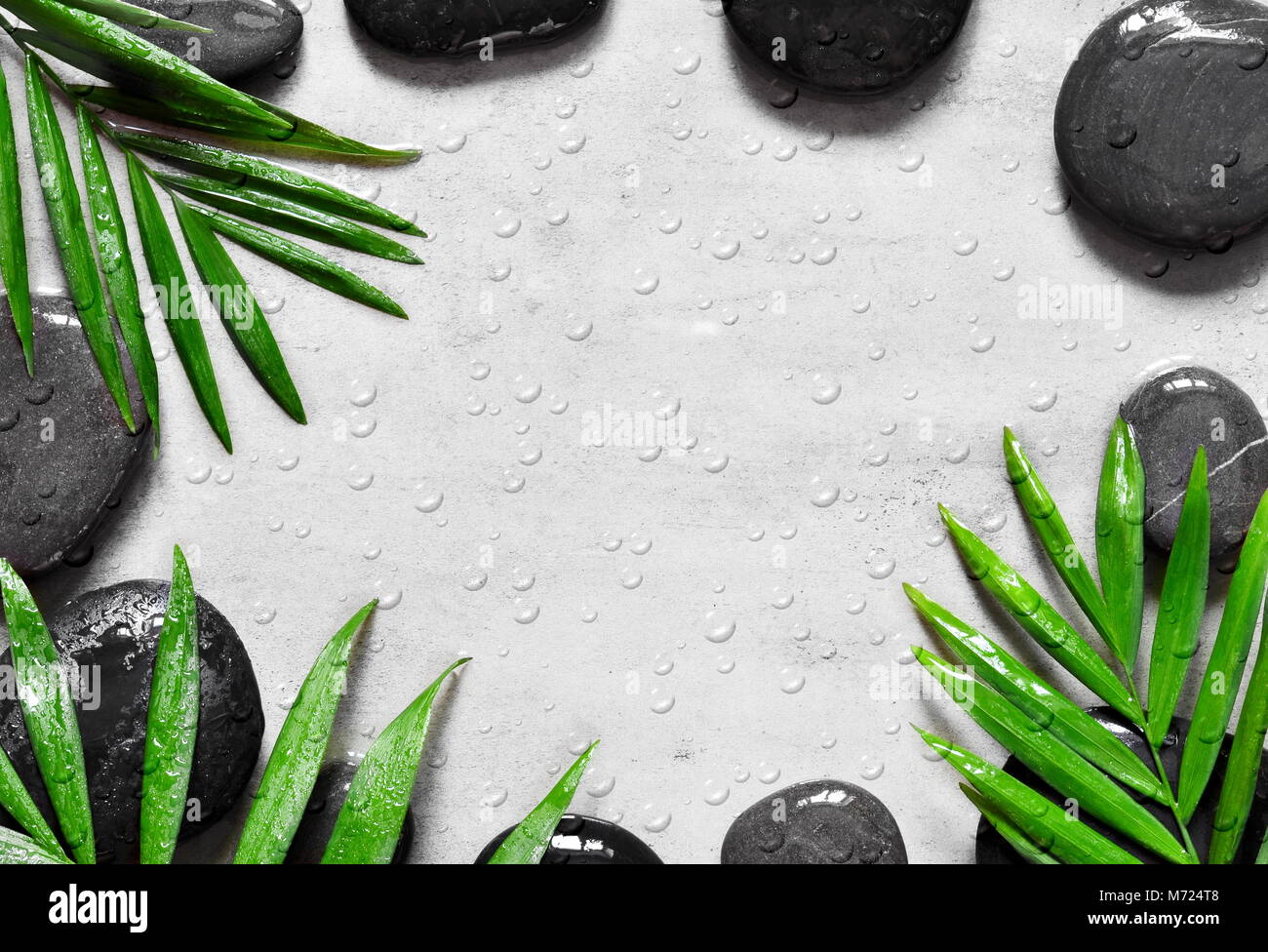 grey spa background moisturizing concept palm leaves and black wet