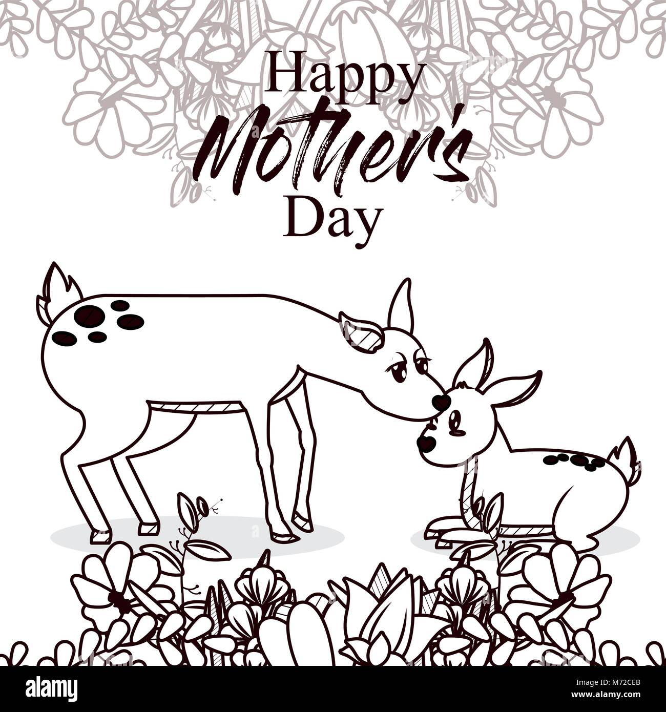 Happy Mothers Day Card With Cute Animals Stock Vector Art