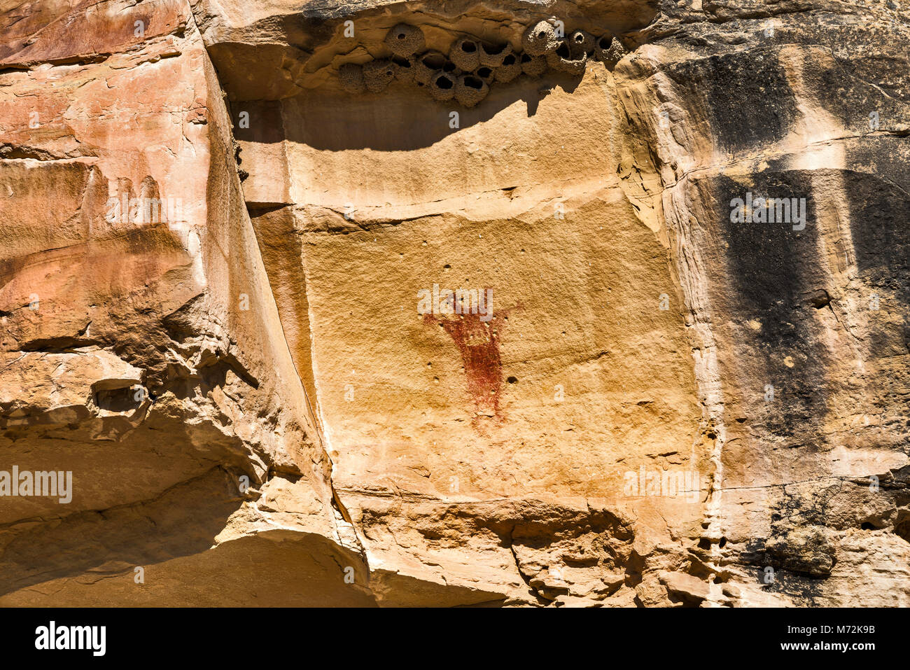 Waving Hands Site pictographs art panel, bullet holes damage, Canyon ...