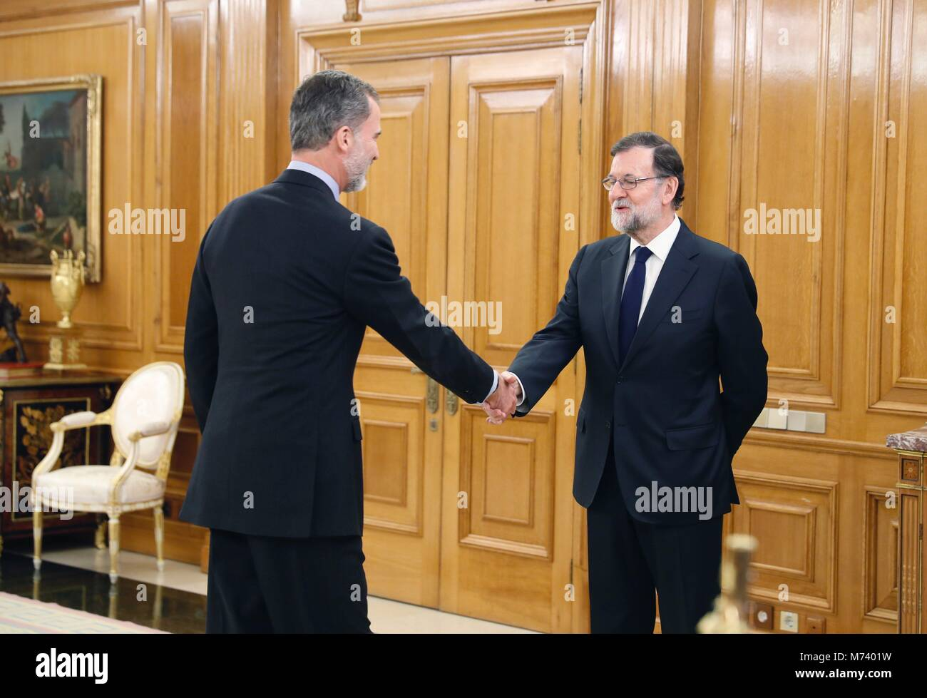 King felipe vi of spain l greets spanish prime minister mariano king felipe vi of spain l greets spanish prime minister mariano rajoy r during new spanish minister of economy industry and competitiveness roman m4hsunfo