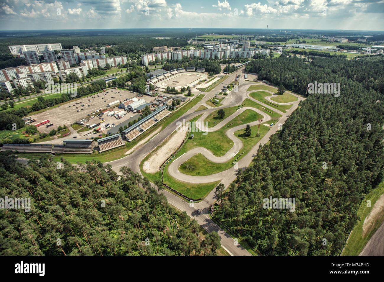 Bikirnieki cart track race cars circuit in the city forest Stock ...